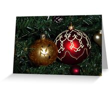 Red and Gold Christmas baubles Greeting Card