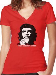 Viva la revolucion del cafe! Women's Fitted V-Neck T-Shirt