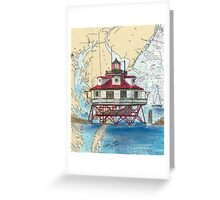Thomas Pt Shoals Lighthouse MD Map Cathy Peek Greeting Card