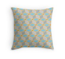 Tumbling Blocks, Orange/Blue Throw Pillow