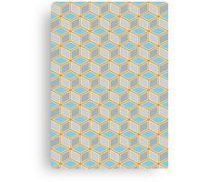 Tumbling Blocks, Orange/Blue Canvas Print