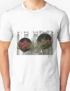 Two Tub Planters Displayed On Fence - Digital Artwork T-Shirt