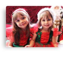 Little Girls Waiting For Santa Canvas Print