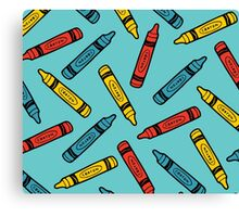 Crayons on Blue Pattern Canvas Print