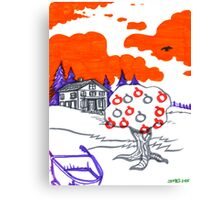 Psychedelic Apple Tree Landscape Canvas Print