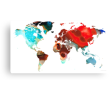 Map of The World 5 -Colorful Abstract Art Canvas Print