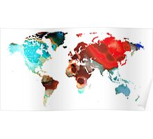 Map of The World 5 -Colorful Abstract Art Poster