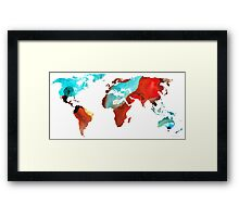 Map of The World 4 -Colorful Abstract Art Framed Print