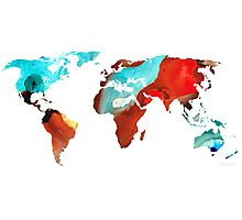 Map of The World 4 -Colorful Abstract Art Photographic Print