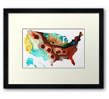 United States of America Map 6 - Colorful USA Framed Print