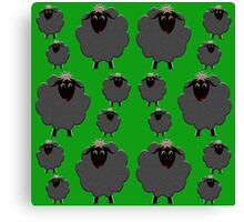A whole flock of black sheep on green Canvas Print