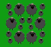 A whole flock of black sheep on green by M Fernandez