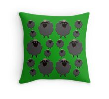 A whole flock of black sheep on green Throw Pillow