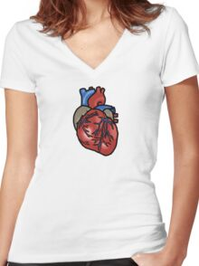 Anatomically Correct Heart Women's Fitted V-Neck T-Shirt