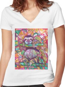 Sloth Love Women's Fitted V-Neck T-Shirt