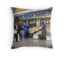 Fish market in Ankara Throw Pillow