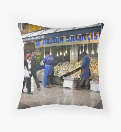 Fish market in Ankara Throw Pillow