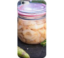 Jar full of canned, prepared and conserved pears iPhone Case/Skin