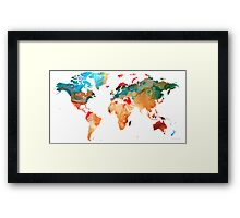 Map of The World 7 -Colorful Abstract Art Framed Print