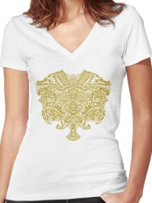 Baroque Wings Gold/white Women's Fitted V-Neck T-Shirt