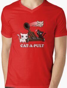 Cat-a-pult Mens V-Neck T-Shirt