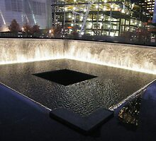 9/11 Memorial, Waterfall and Pool, Ground Zero, Lower Manhattan, New York by lenspiro