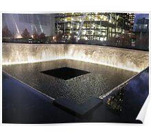 9/11 Memorial, Waterfall and Pool, Ground Zero, Lower Manhattan, New York Poster