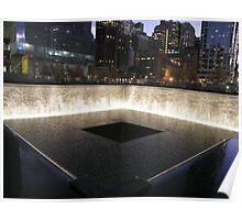 9/11 Memorial, Pool and Waterfall, Ground Zero, Lower Manhattan, New York City Poster