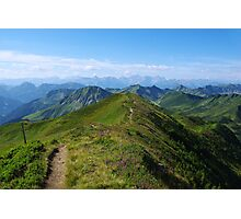 Mountain trail with a view near Damüls, Austria Photographic Print