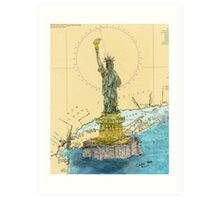 Statue of Liberty Lighthouse NY Map Cathy Peek Art Print