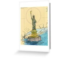 Statue of Liberty Lighthouse NY Map Cathy Peek Greeting Card