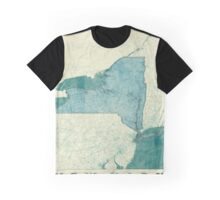New York Map Blue Vintage Graphic T-Shirt