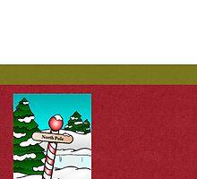 Merry Christmas happy holidays card with snowscene by Cheryl Hall