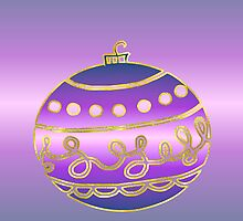 Merry Christmas happy holidays card with bauble by Cheryl Hall