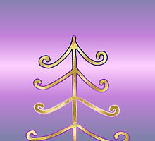 Merry Christmas happy holidays card with christmas tree by Cheryl Hall
