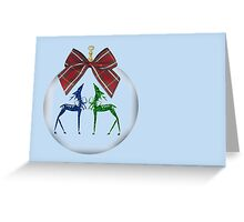 Merry Christmas happy holidays card with reindeer in bauble Greeting Card