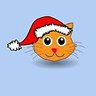Merry Christmas happy holidays card with christmas kitty by Cheryl Hall