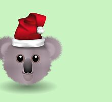 Merry Christmas happy holidays card with koala australian aussie christmas by Cheryl Hall