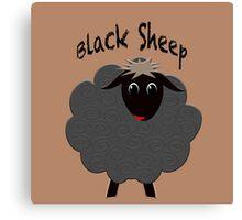 Cute black sheep on brown Canvas Print
