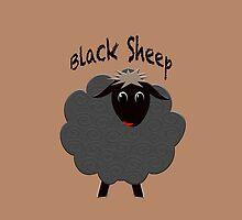 Cute black sheep on brown by M Fernandez