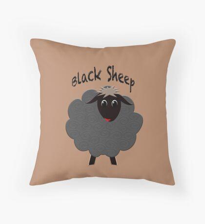 Cute black sheep on brown Throw Pillow