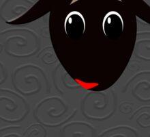 Cute black sheep on brown Sticker