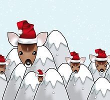 Merry Christmas happy holidays card with reindeer in santa hats by Cheryl Hall
