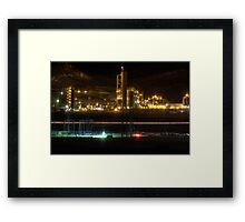 Cement Plant at Night Framed Print