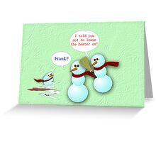 Merry Christmas happy holidays card with snowmen Christmas humor funny Greeting Card