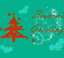 Season's Greetings christmas with christmas tree by Cheryl Hall