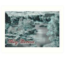 Merry Christmas happy holidays card with christmas snow scene Art Print