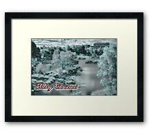 Merry Christmas happy holidays card with christmas snow scene Framed Print
