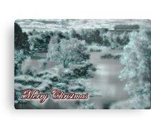 Merry Christmas happy holidays card with christmas snow scene Metal Print