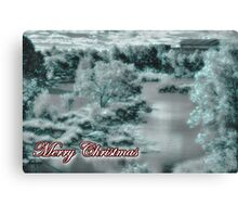 Merry Christmas happy holidays card with christmas snow scene Canvas Print